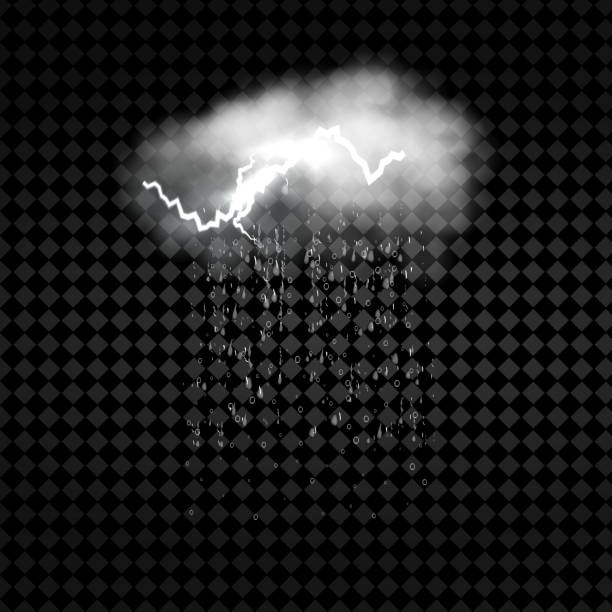 Weather icon with cloud, heavy fall rain and lightning on transparent background Vector illustration Weather icon with cloud, heavy fall rain and lightning on transparent background Vector illustration hailstorm stock illustrations