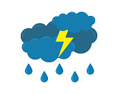 Weather icon with cloud and rain,lightning isolated on white background, Vector illustration.