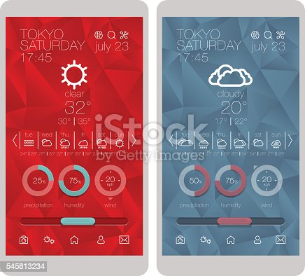 Weather icons, user interface design template and UI set..UI and UX elements for smartphone and mobile app