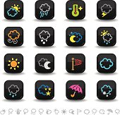16 colored weather icons on smooth black internet buttons.