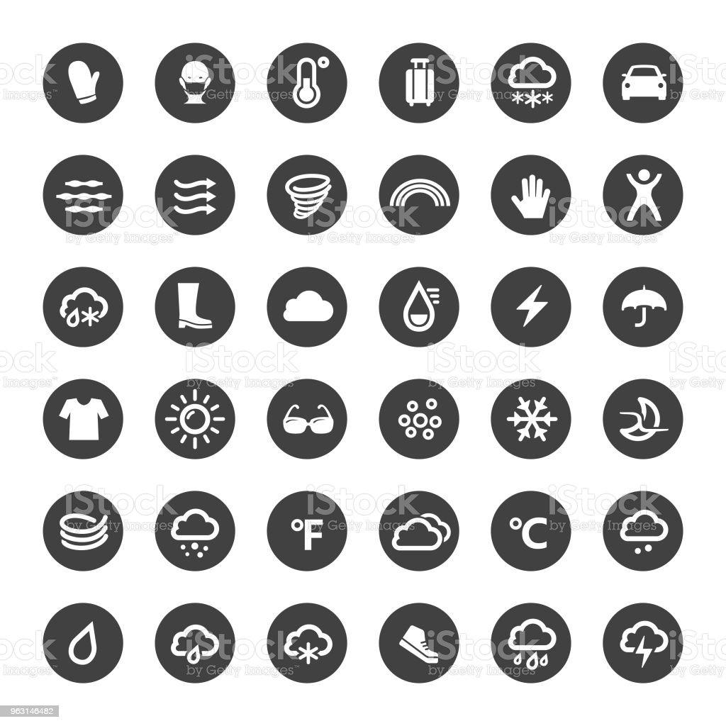 Weerpictogrammen - grote cirkel serie - Royalty-free Auto vectorkunst