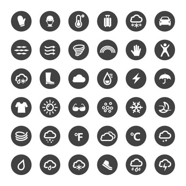 stockillustraties, clipart, cartoons en iconen met weerpictogrammen - grote cirkel serie - mist donker auto