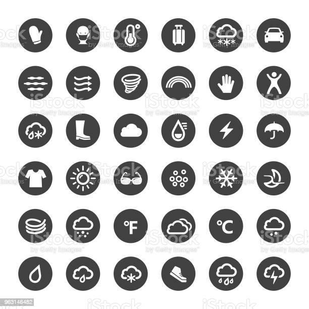Weerpictogrammen Grote Cirkel Serie Stockvectorkunst en meer beelden van Auto