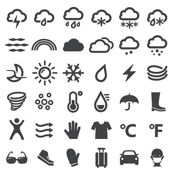 illustrazioni stock, clip art, cartoni animati e icone di tendenza di weather icons - big series - car chill