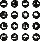 Weather Icons - Black Circle Series Vector EPS10 File.