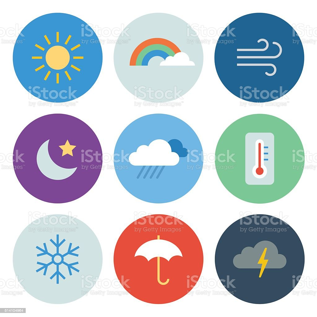 Weather Icons — Circle Series vector art illustration