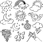Different kinds of weather icons in line art style. It contains hi-res JPG, PDF and Illustrator 9 files.