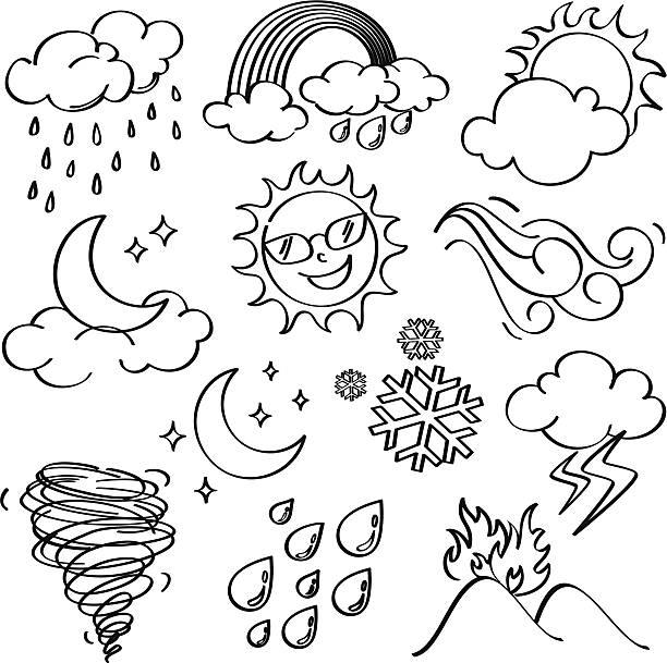 stockillustraties, clipart, cartoons en iconen met weather icons collection - regen zon