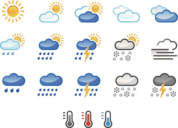 weather icons colour weather icons forked lightning stock illustrations