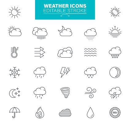 Weather Icons Editable Stroke. Sun, rain, thunder storm, wind, snow cloud, illustrations