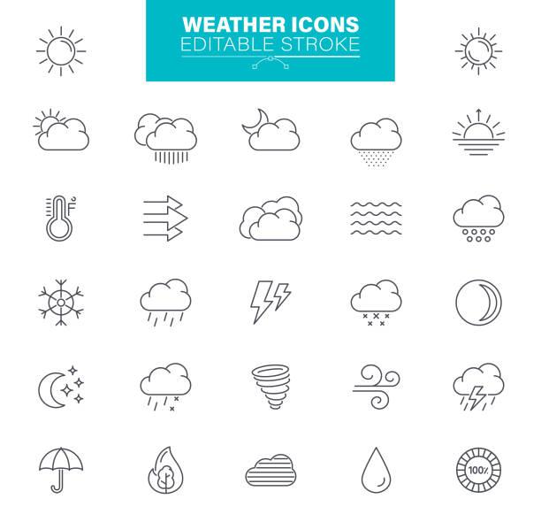 wetter-symbole editierbaren strich. sonne, regen, gewitter, wind, schneewolke, illustrationen - schneeflocke sonnenaufgang stock-grafiken, -clipart, -cartoons und -symbole