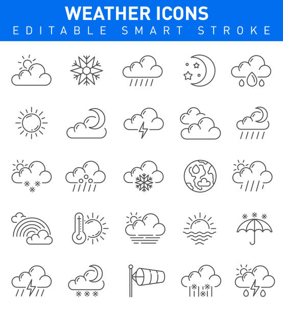 illustrazioni stock, clip art, cartoni animati e icone di tendenza di weather icons. editable vector stroke collection - grandine vector
