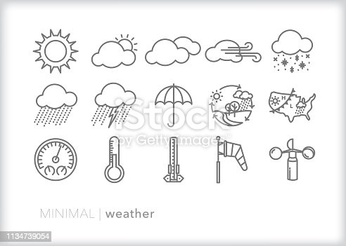 Set of 15 gray weather line icons of sun, clouds, rain, snow, wind, storm lightning, umbrella, and tools for meteorologists to  measure and forecast weather