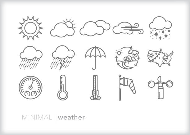 ilustrações de stock, clip art, desenhos animados e ícones de weather icons for every season showing precipitation, wind, rain, snow, lightning and ways to measure and track weather - weatherman