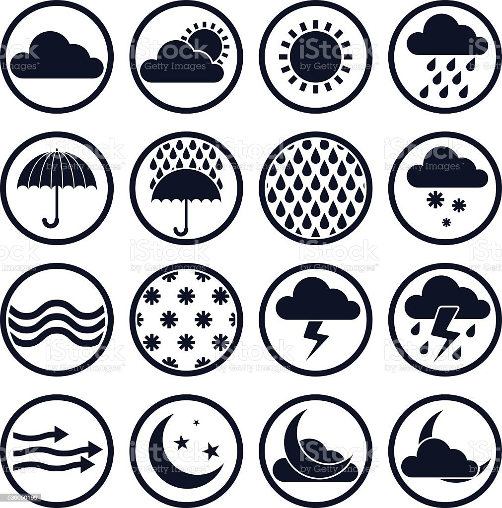 Weather icons isolated on white background vector set vector art illustration