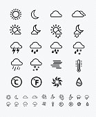 Weather icons line pattern on white background