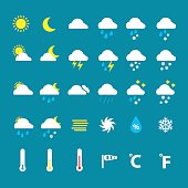 Weather icons on blue background