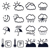 16 weather icons on white background