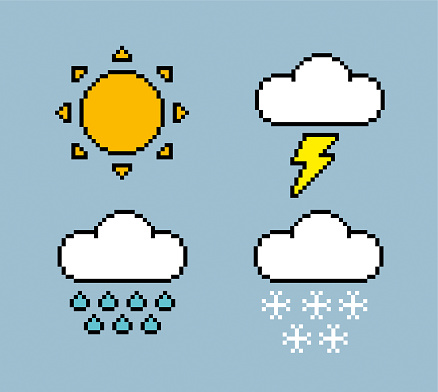 Weather icons pixel style