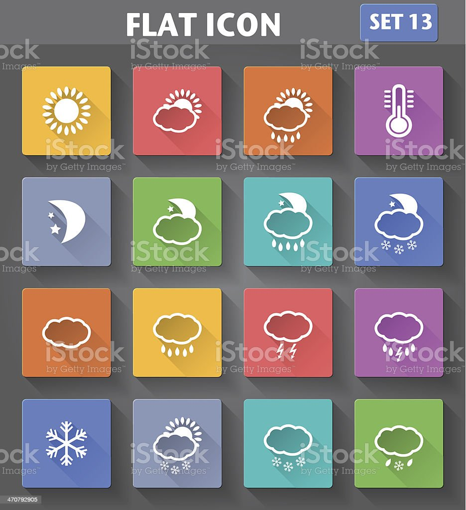 Weather Icons set in flat style with long shadows. royalty-free stock vector art
