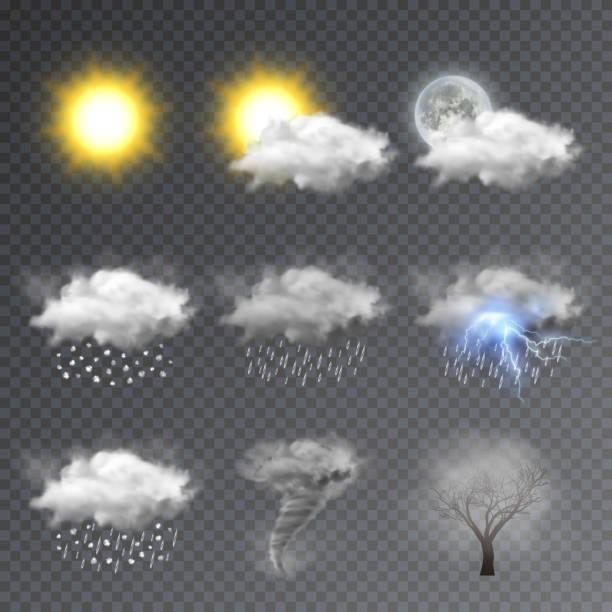 날씨 아이콘을 설정, 현대 예보 위젯 - 날씨 stock illustrations