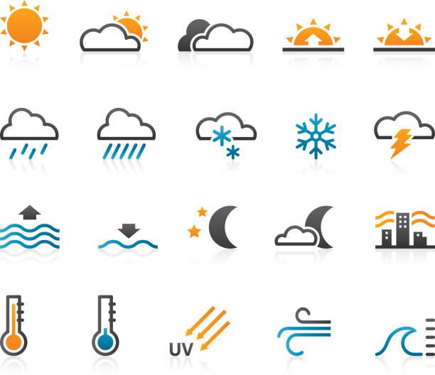 wetter-icons-set von 20 - schneeflocke sonnenaufgang stock-grafiken, -clipart, -cartoons und -symbole