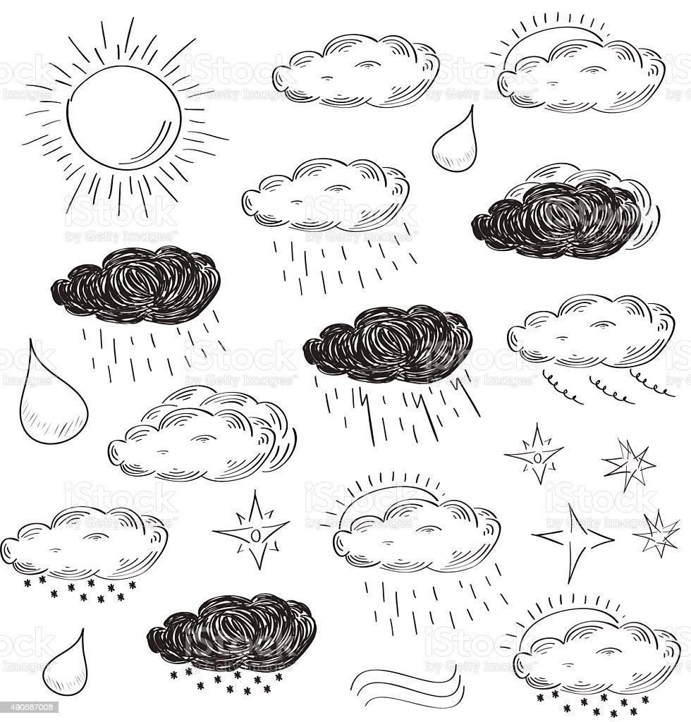 Weather icons set. Sketch vector illustration. - Royalty-free 2015 vectorkunst