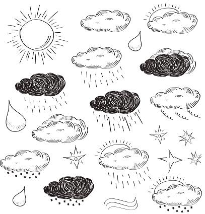 Weather Icons Set Sketch Vector Illustration Stockvectorkunst en meer beelden van 2015