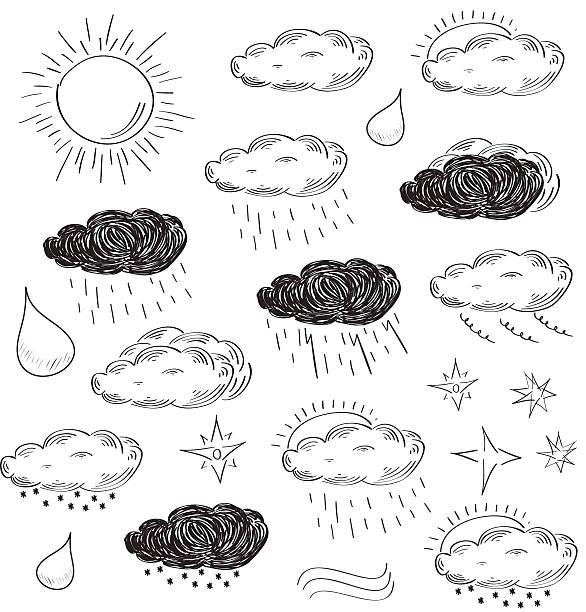 stockillustraties, clipart, cartoons en iconen met weather icons set. sketch vector illustration. - regen zon