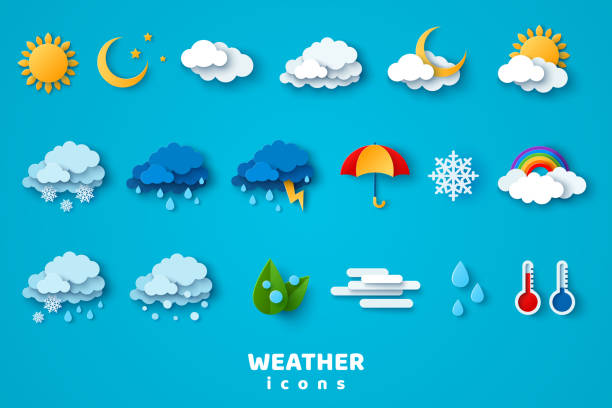 Weather icons set Paper cut weather icons set on blue background. Vector illustration. White clouds, dew on leaves, fog sign, day and night for forecast design. Winter and summer symbols, sun and thunderstorm stickers. storm stock illustrations