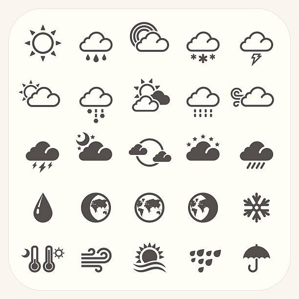 stockillustraties, clipart, cartoons en iconen met weather icons set - klimaat