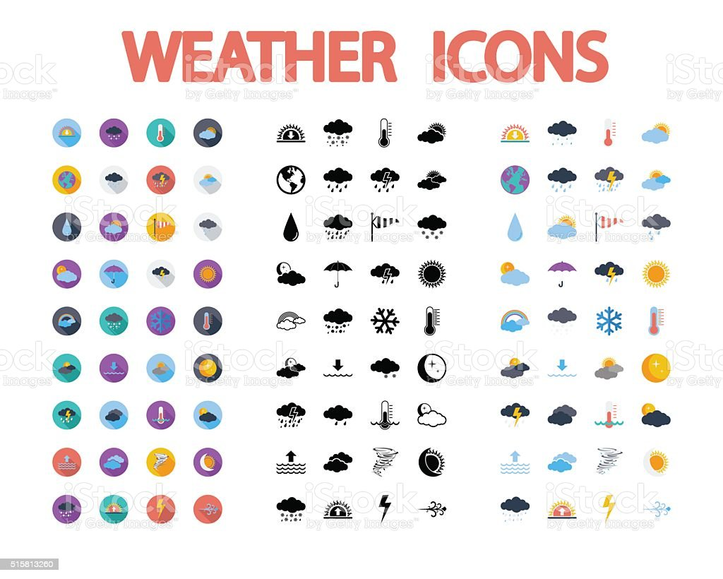 Weather icons set. vector art illustration