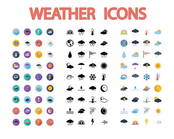 illustrazioni stock, clip art, cartoni animati e icone di tendenza di set di icone meteo. - grandine