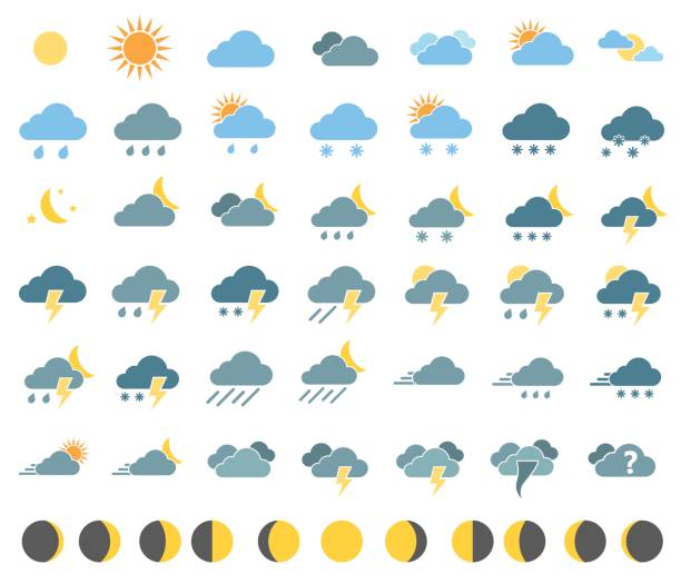 weather icons set - weather stock illustrations, clip art, cartoons, & icons