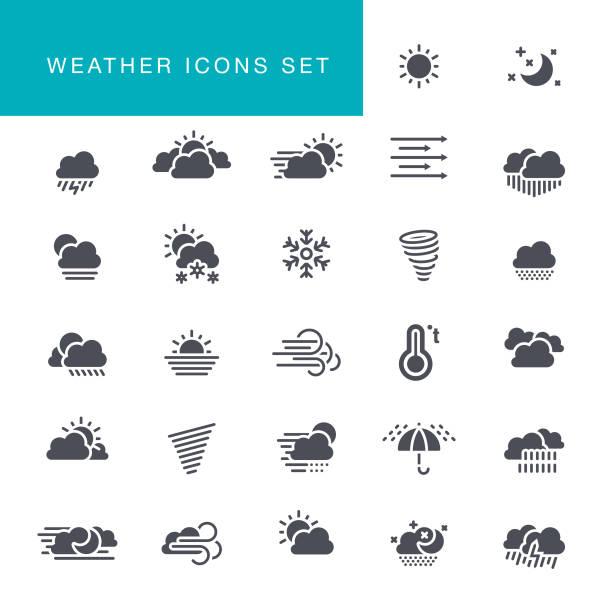 wetter-icons set - schneeflocke sonnenaufgang stock-grafiken, -clipart, -cartoons und -symbole
