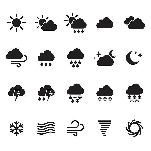 stockillustraties, clipart, cartoons en iconen met weather icons set. vector - regen zon