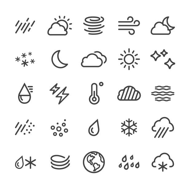 Weather Icons - Smart Line Series Weather, climate, sun, moon, cloud, rain, snow, wind, fog, day, night, extreme weather stock illustrations