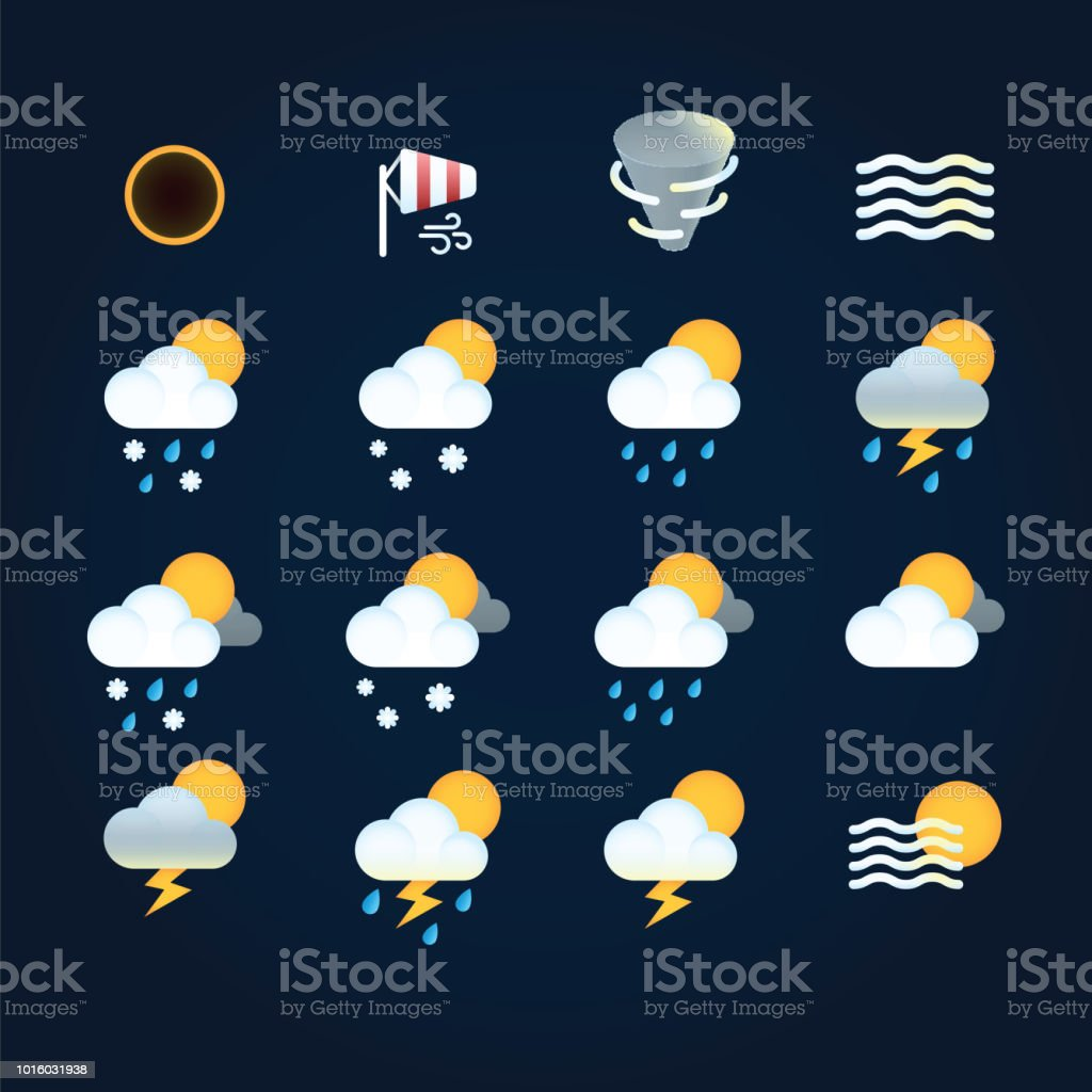 Weather icons sun and clouds in sky, rain with snow, thunder and...