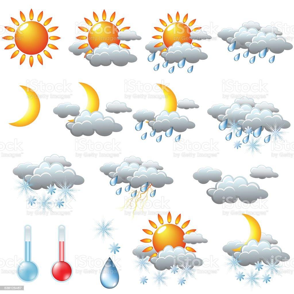 weather icons sun rain snow storm clouds stock vector art