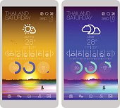 Weather icons, user interface design template and UI set elements for smartphone and mobile app