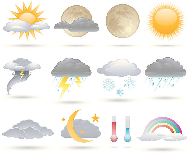 Weather icons Weather vector icons series. forked lightning stock illustrations