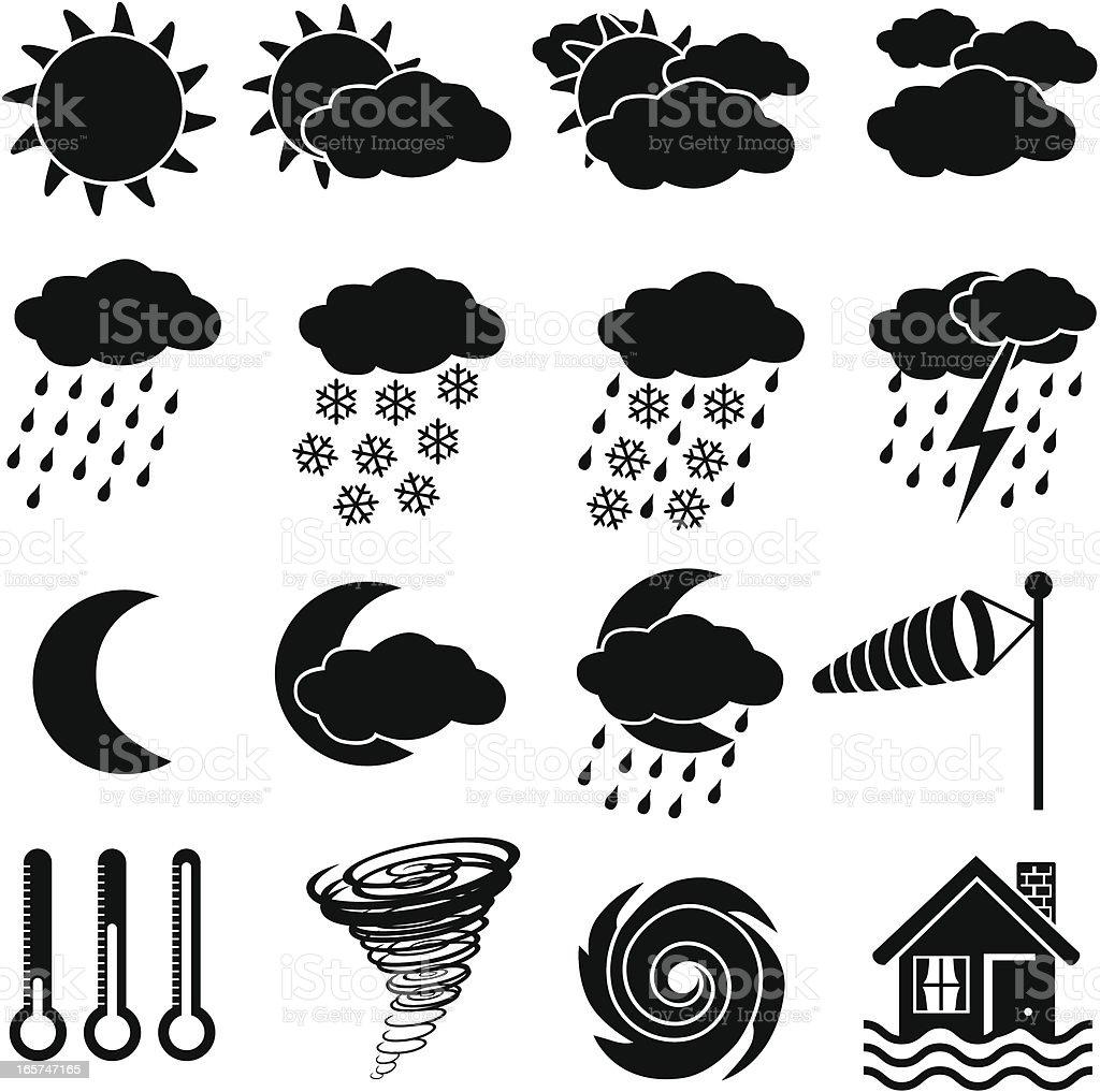 Ícones de meteorologia - ilustração de arte em vetor