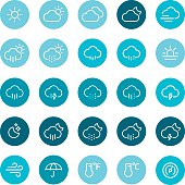 Weather, icons, icon set, sun, moon, wind, barometer, thermometer