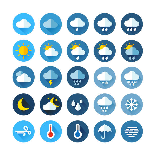 Weather Icons Weather Icons For Print, Web or Mobile App storm stock illustrations