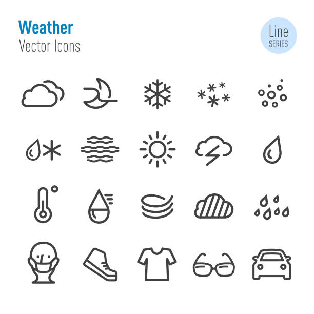 illustrazioni stock, clip art, cartoni animati e icone di tendenza di icone meteo - vector line series - car chill