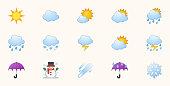 Weather Icons Vector Set. Temperature, Cloud, Sky Symbols Set. Sunny, Cloudy, Rainy, Stormy, Hot Degree Sun Illustrations