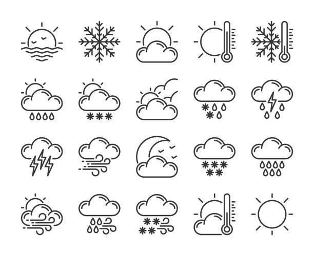 20 wetter-symbole. wettervorhersage-liniensymbol gesetzt. vektor-illustration. bearbeitbarer strich. - schneeflocke sonnenaufgang stock-grafiken, -clipart, -cartoons und -symbole