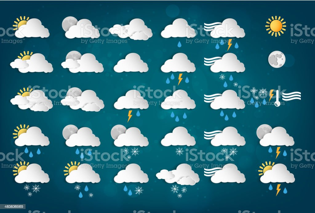 Weather Icons with Blue Background vector art illustration