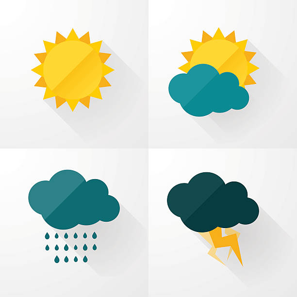 stockillustraties, clipart, cartoons en iconen met weather icons with long shadows - zonnig