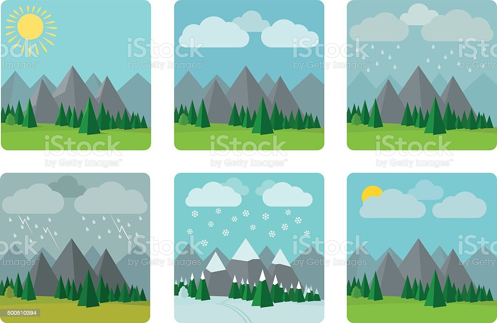 Weather illustrations in flat style vector vector art illustration